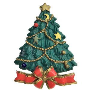 Vintage 90s Christmas Tree Pin Brooch Country